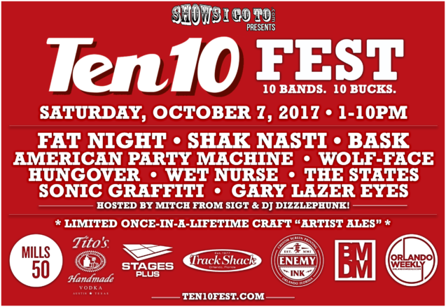 Ten 10 Fest Lineup 2017 With Sponsors -9-1-17