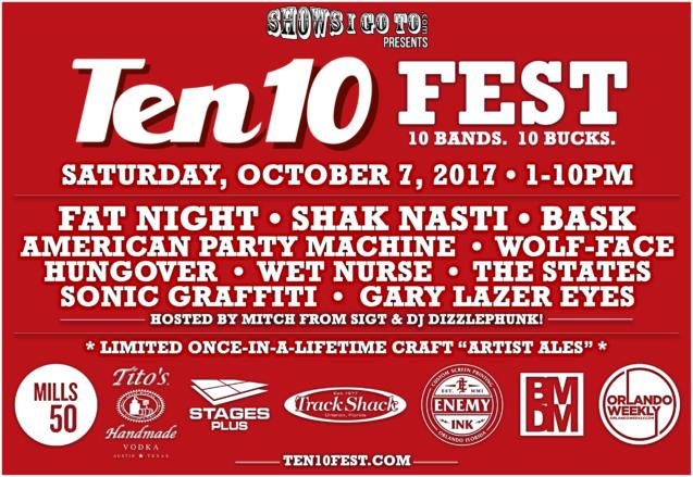 Ten 10 Fest Lineup 2017 With Sponsors -9-1-17
