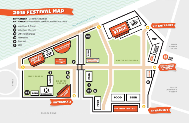 Gasparilla Music Fest 2016 Festival Map