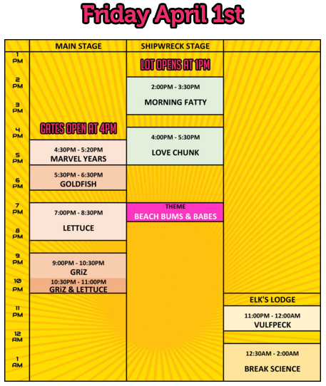 Foo'l Paradise Friday Schedule