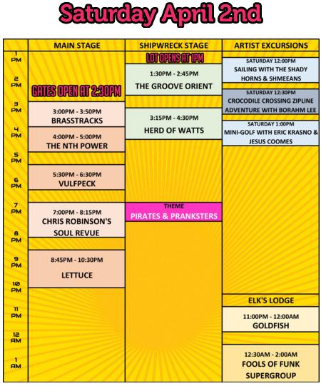 Fool's Paradise Saturday Schedule
