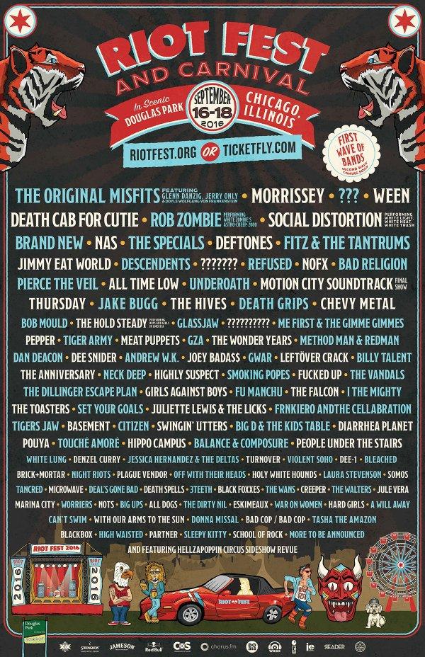 riot fest 2016 lineup chicago