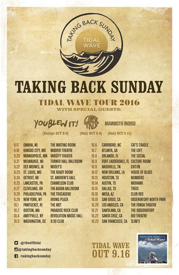 Taking Back Sunday Tour 2016