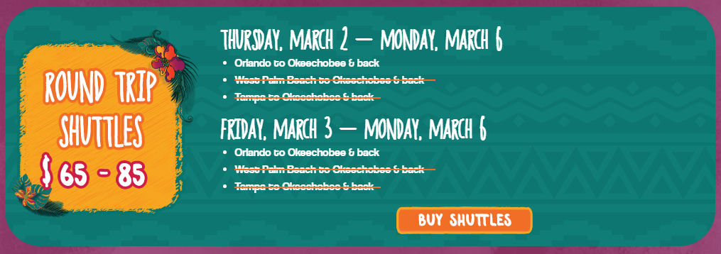 Okeechobee Shuttle From Orlando