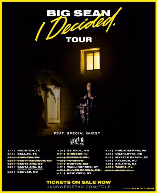 Big Sean I Decided. Tour 2017