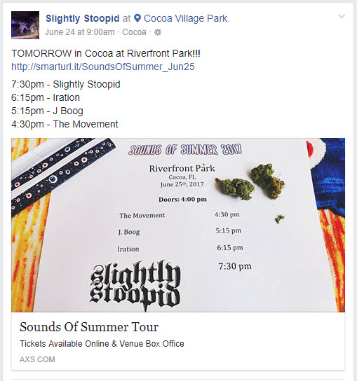 Slightly Stoopid, Iration, J Boog, The Movmenet, River Front Park, Cocoa, Florida, 2017