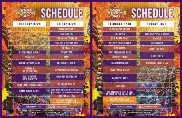 Great Outdoors Jam Schedule 2017