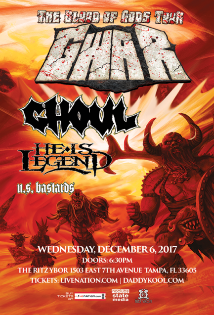 GWAR, The Blood Of Gods Tour 2017, Ghoul, He Is Legend, U.S. Bastards