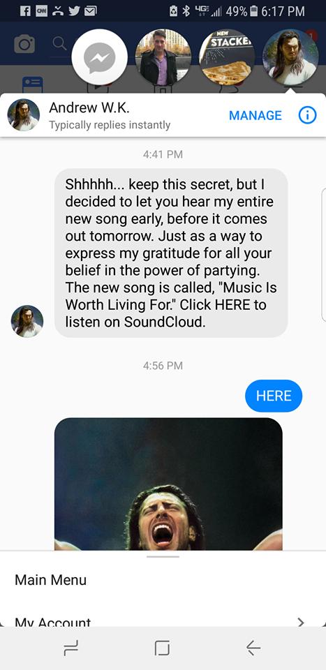 Andrew WK Music Is Worth Living For Stream Leak