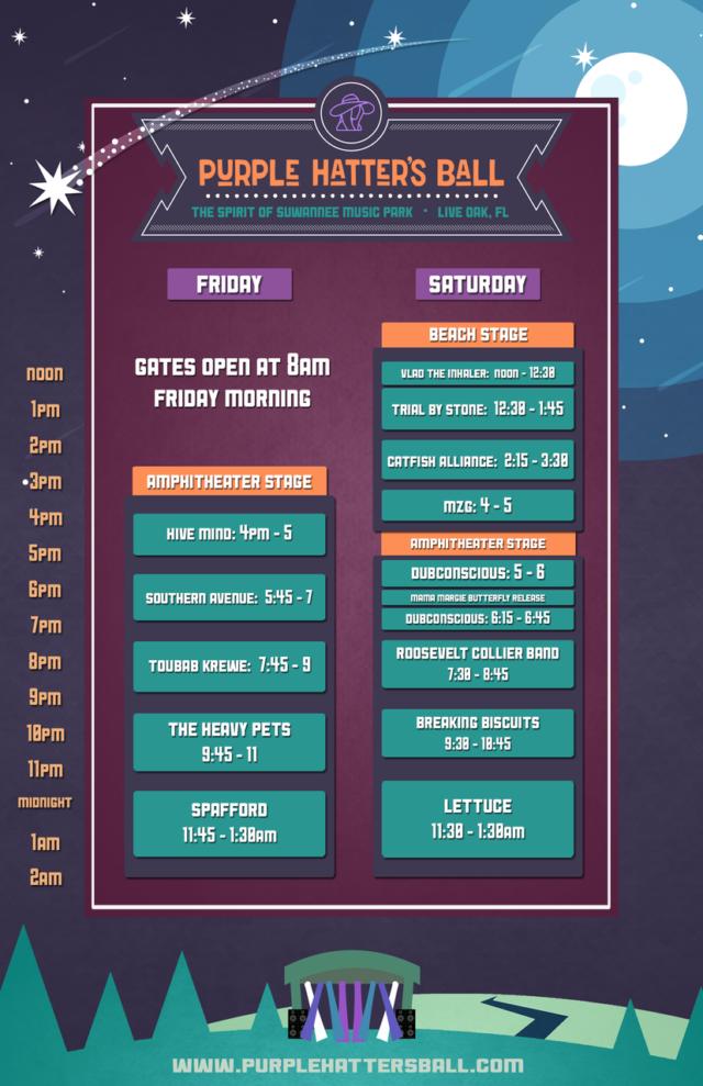 Purple Hatter's Ball 2018 Schedule Lineup 2018