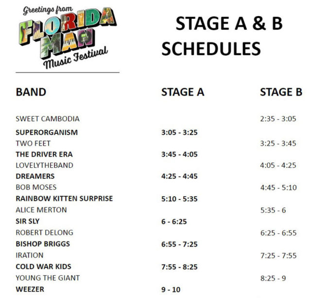 Florida Man Music Festival 2018 Schedule Stage times