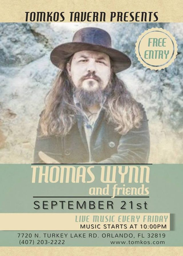 thomas wynn free live music friday night tomkos tavern orlando