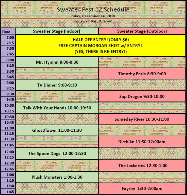 Sweater Fest 2018 Schedule new