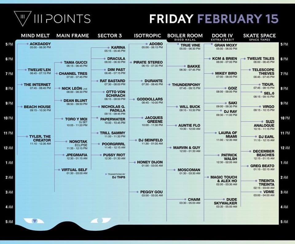 III Points Friday Lineup 2019 Tickets
