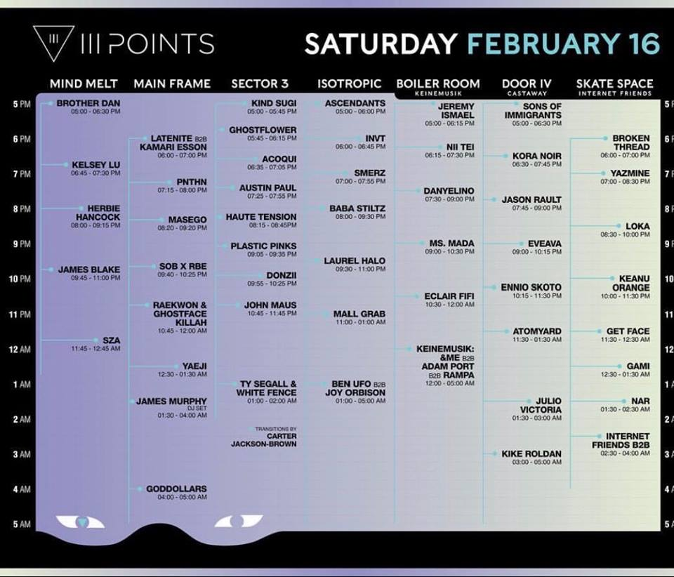 III Points Saturday Lineup 2019 Tickets