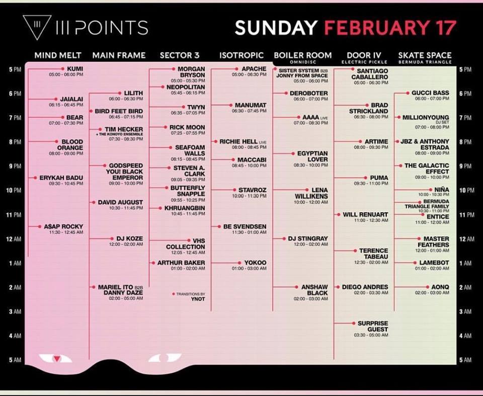 III Points Sunday Lineup 2019 Tickets