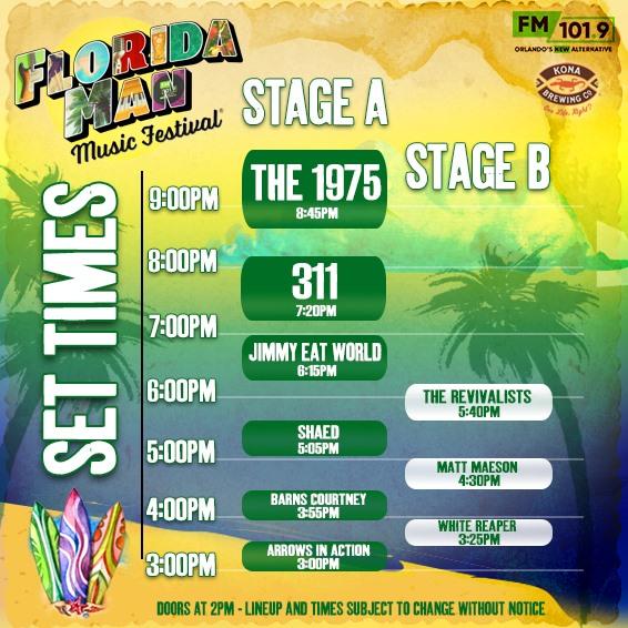 Florida Man Music Festival 2019 Set Times Schedule