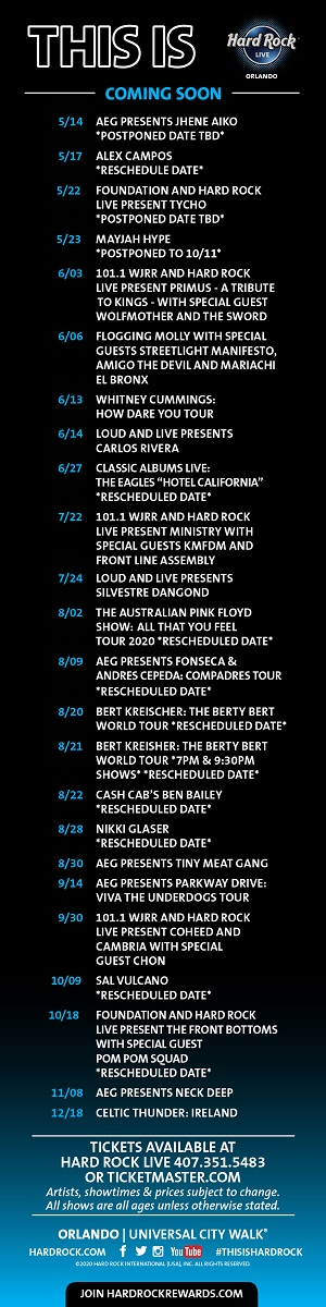 Hard Rock Show Calendar Orlando April 2020