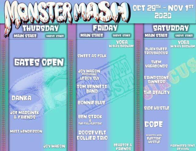 Monster Mash 2020 Schedule
